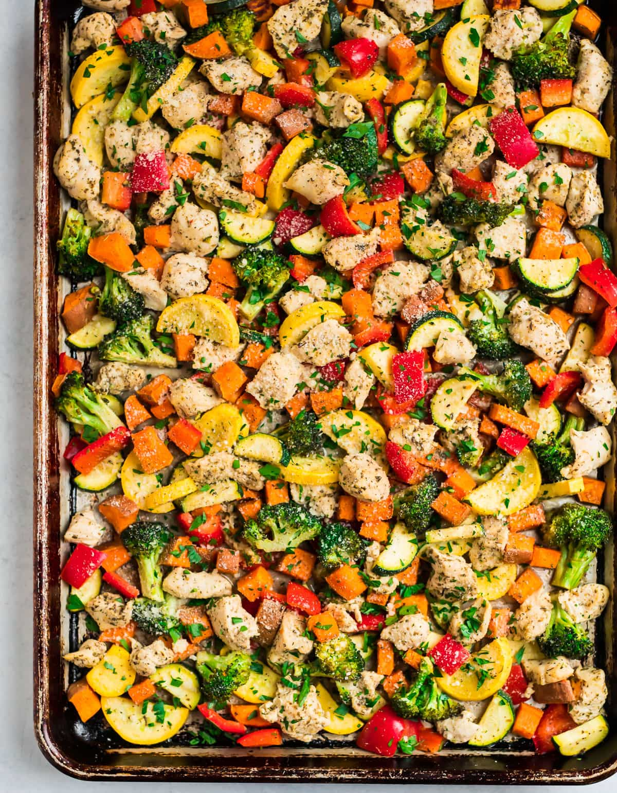 Sheet Pan Chicken and Rainbow Vegetables