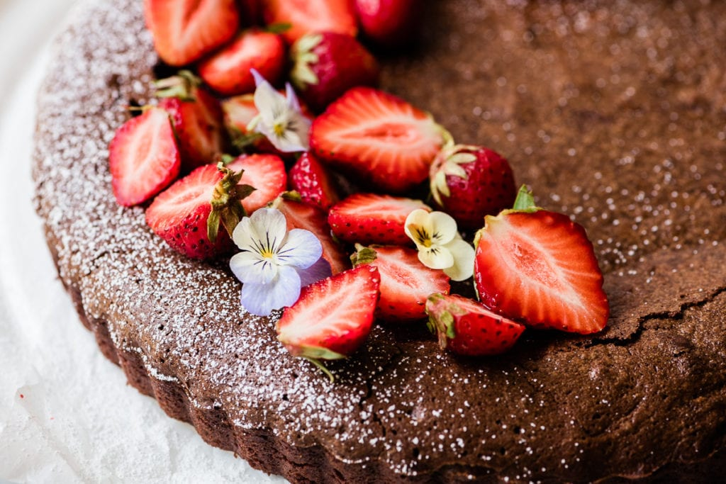 Mexican Chocolate Cake with Berries (gluten free, or not)