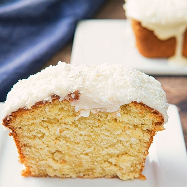 Creamy Vanilla Frosted Coconut Pound Cake