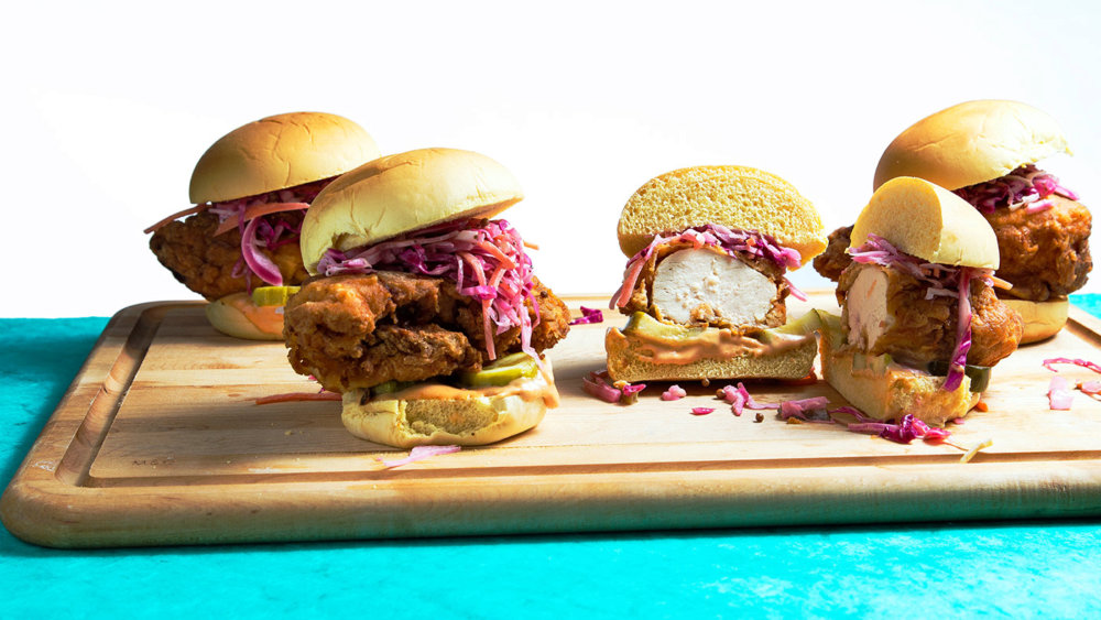Fried Chicken Sandwich with Pickled Vegetable Slaw
