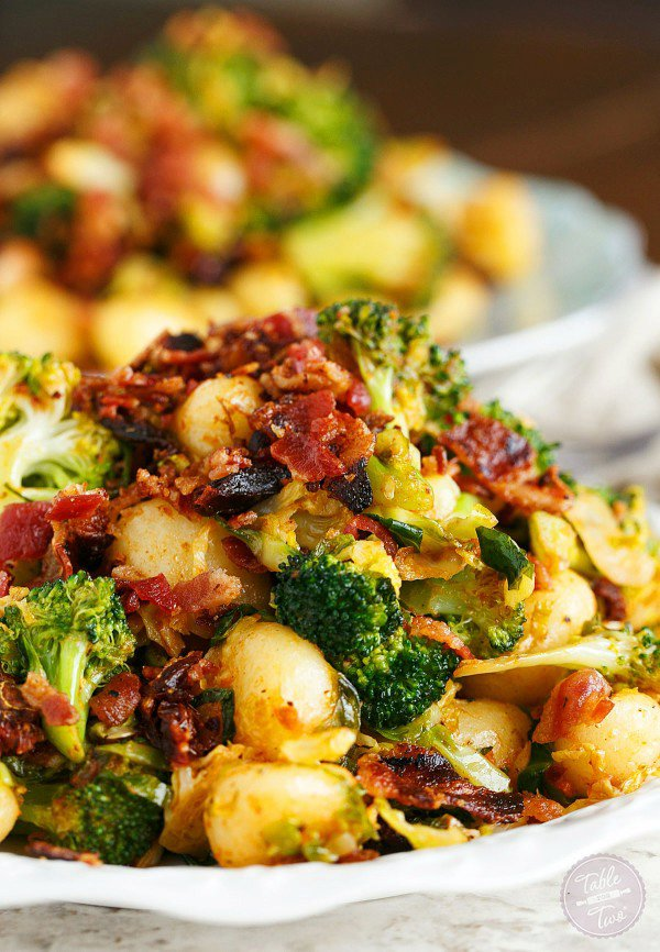 Bacon Gnocchi with Broccoli and Shaved Brussels
