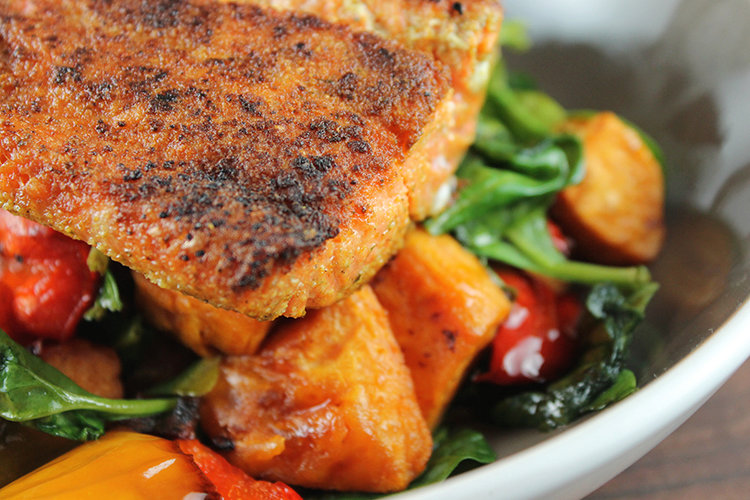 Cumin Scented Pan Seared Salmon with Balsamic Roasted Vegetables
