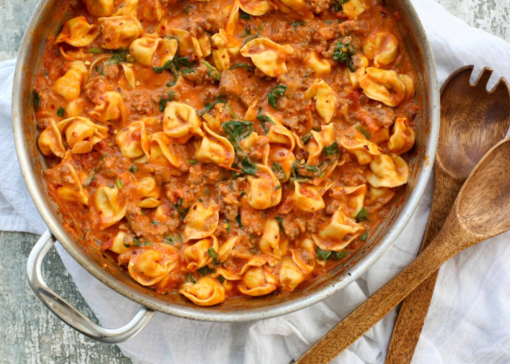 Sausage Tortellini with Spinach