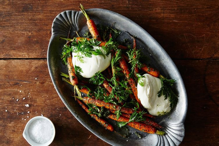 Roasted Carrots with Carrot Top Pesto and Burrata