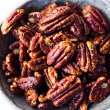 Maple Roasted Candied Pecans