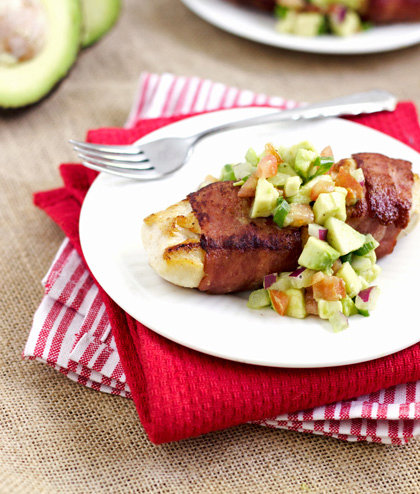 Turkey Bacon Wrapped Chicken With Avocado Salsa