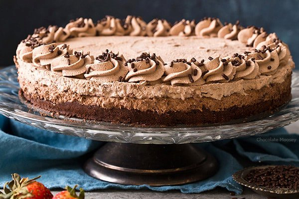 Brownie Bottom Chocolate Mousse Cake