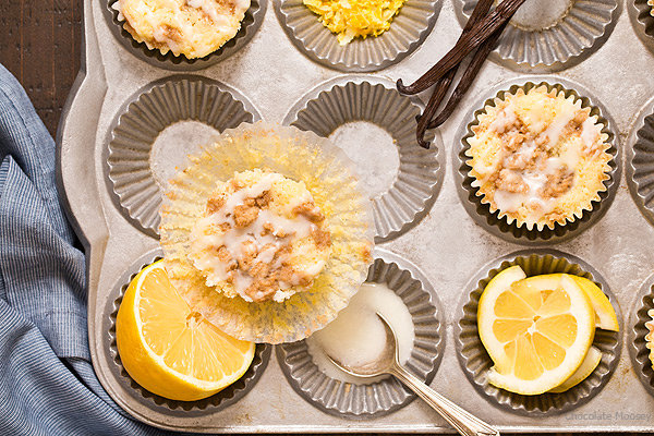 Lemon Vanilla Crumb Muffins (Small Batch)
