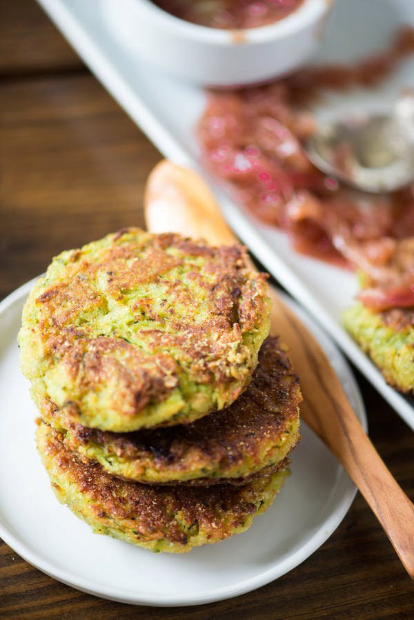 Zucchini-Chickpea Fritters with Red Onion Jam