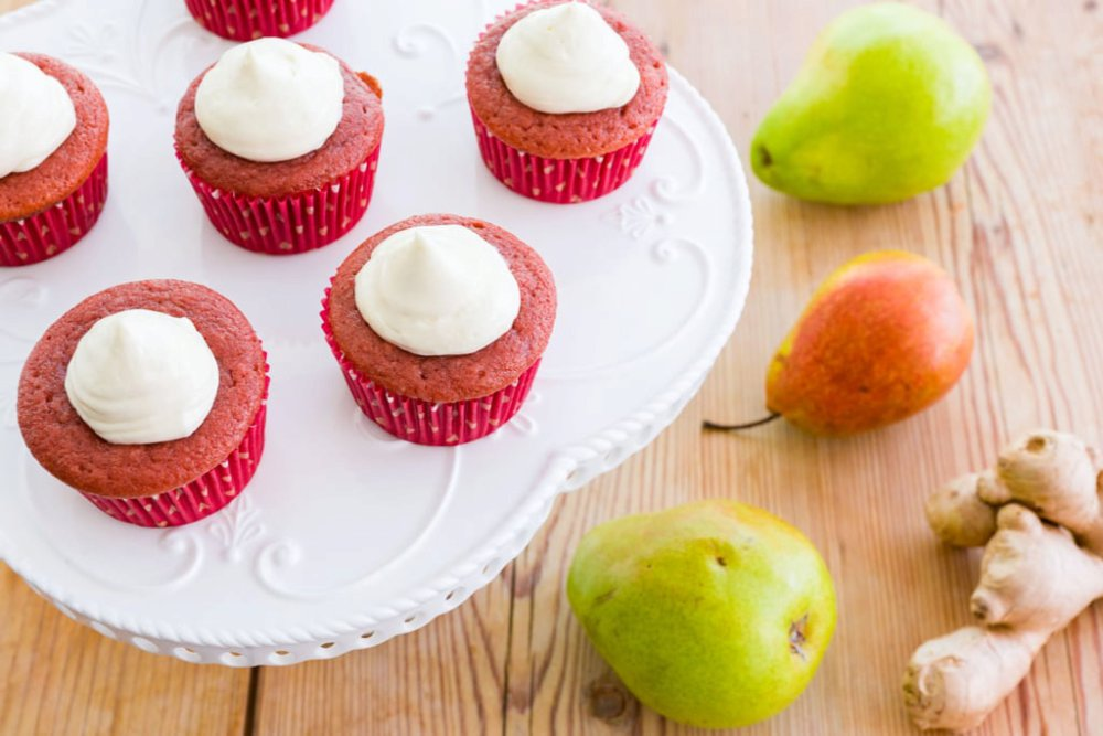 Caramelized Pear Red Velvet Cupcakes with Ginger White Chocolate Frosting