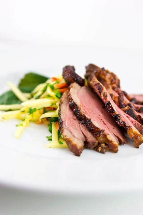 Cinnamon Tea Smoked Duck with Green Mango Slaw