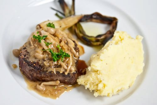 Steak with Mushroom Sauce (Steak Aux Champignons)
