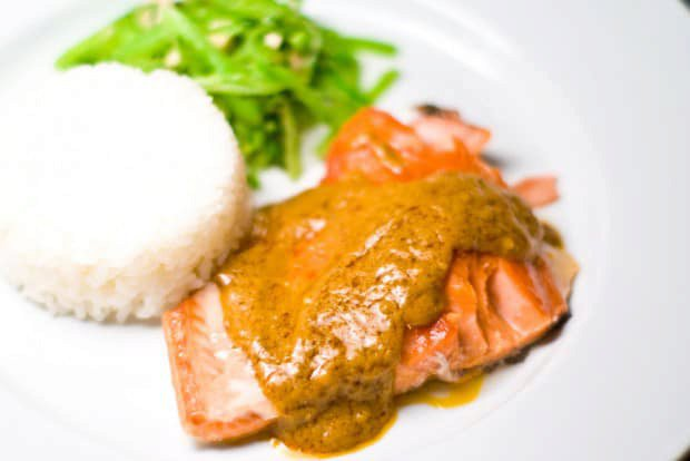 Slow roasted salmon with peanut curry