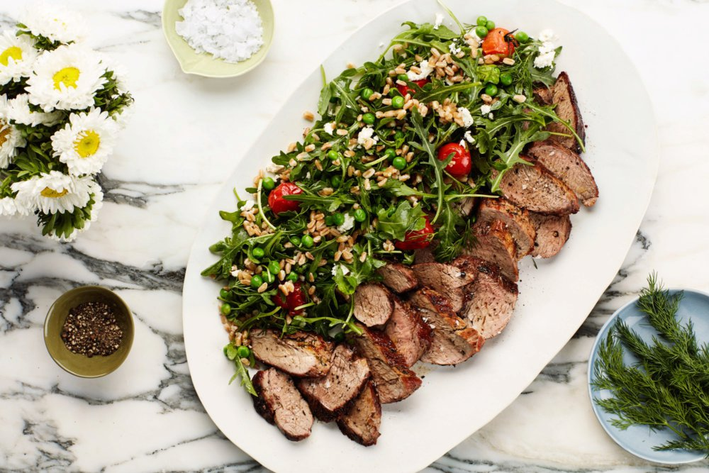 Dill-Crusted Pork Tenderloin with Farro, Pea, and Blistered Tomato Salad