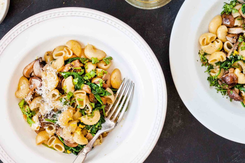 Pasta with Spinach, Mushrooms, and Brown Butter