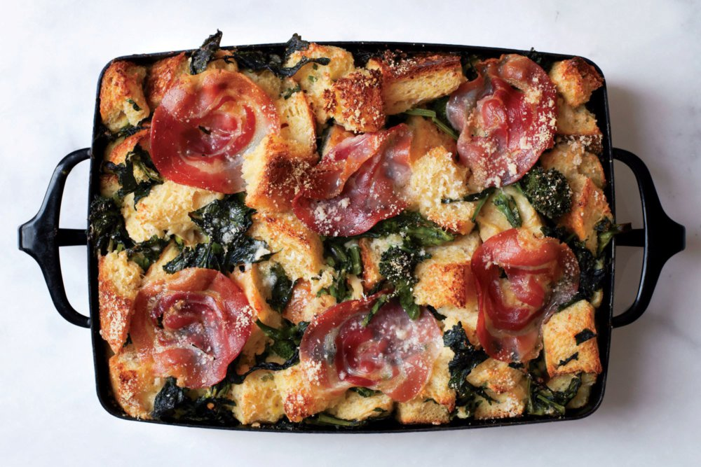 Parmesan Bread Pudding with Broccoli Rabe and Pancetta