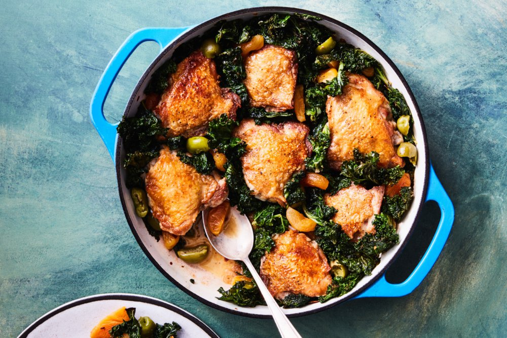 Crispy Chicken Thighs with Kale, Apricots, and Olives