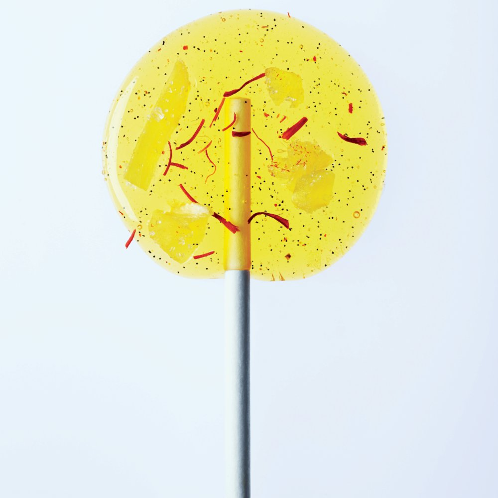 Saffron-Pear Lollipops