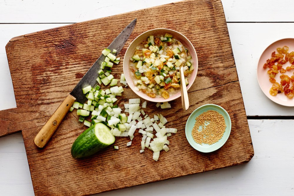 Cucumber and Raisin Relish with Mustard Seeds