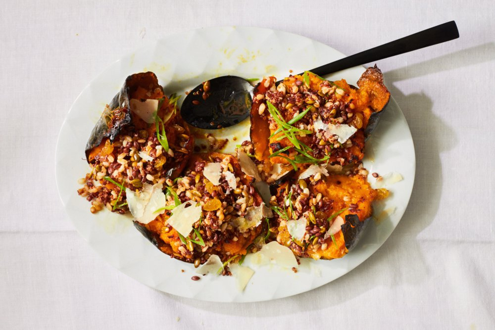 Twice-Roasted Squash with Parmesan Butter and Grains