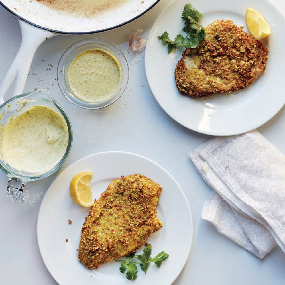 Pistachio-Crusted Chicken with Carrot Raita