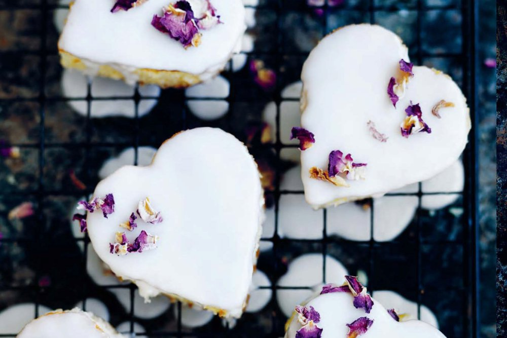 Vanilla Heart Cakes with Rosewater Icing