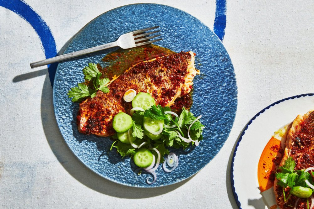 Spiced Snapper with Cucumber Salad