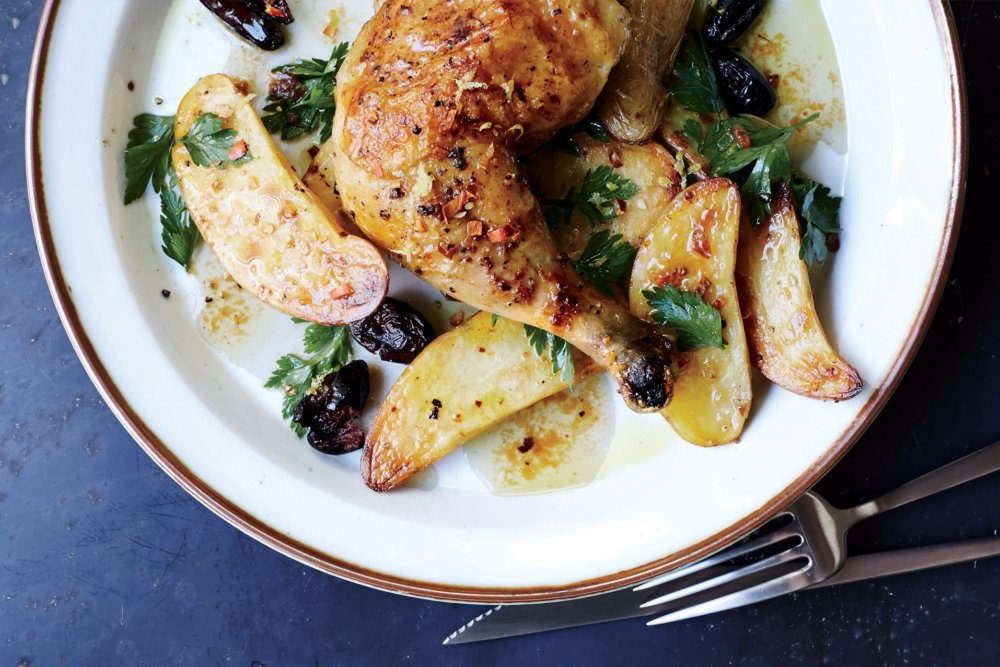 Roast Chicken with Potatoes and Olives