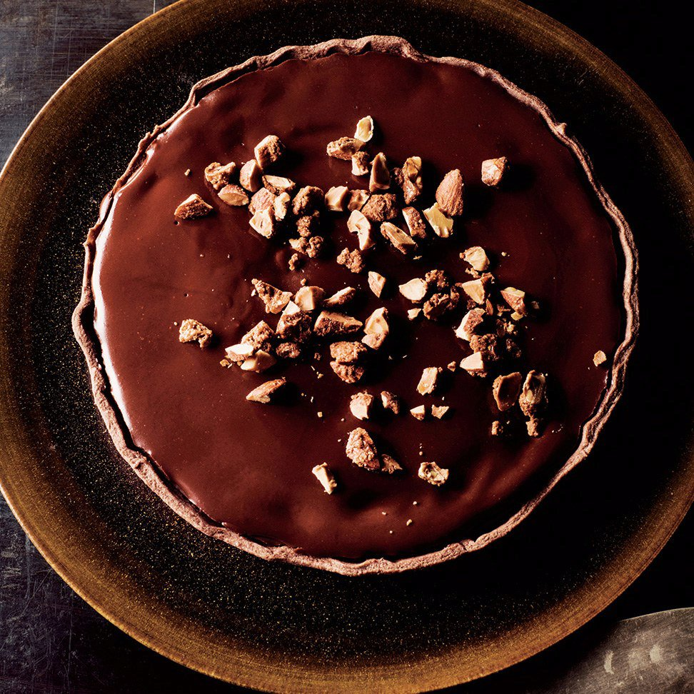 Chocolate-on-Chocolate Tart with Maple Almonds