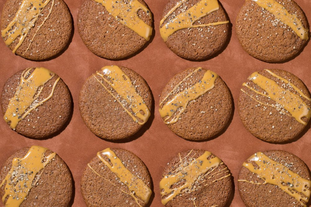 Spiced and Glazed Molasses Cookies