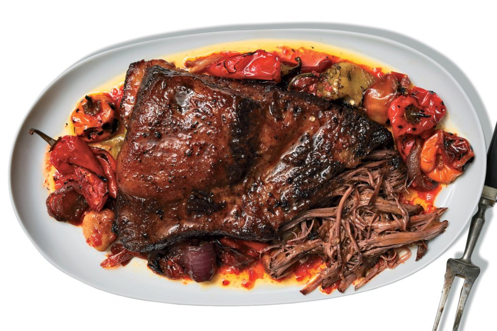 Braised Brisket With Hot Sauce and Mixed Chiles