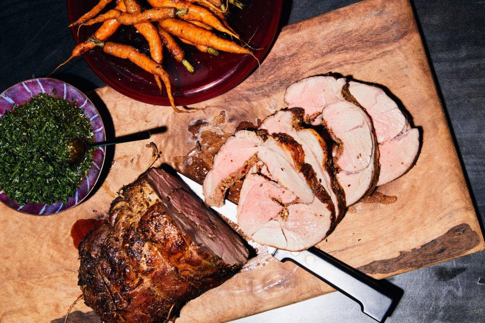 Fennel-Rubbed Leg of Lamb with Carrots and Salsa Verde