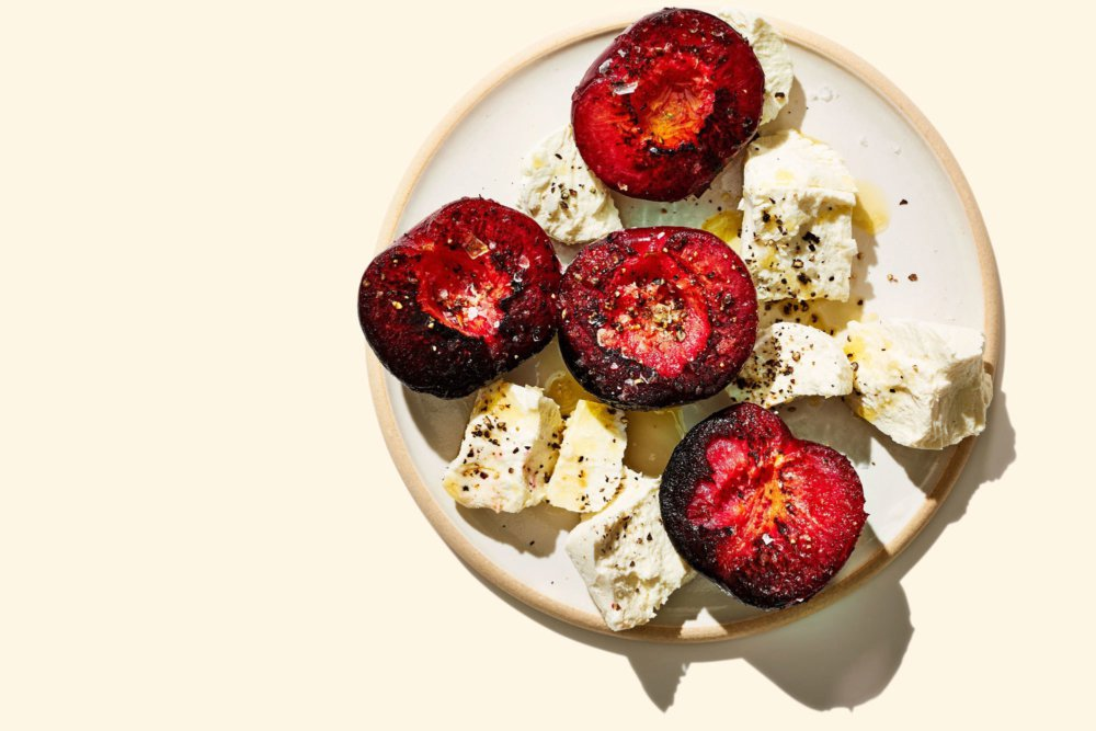 Charred Buttered Plums with Cheese