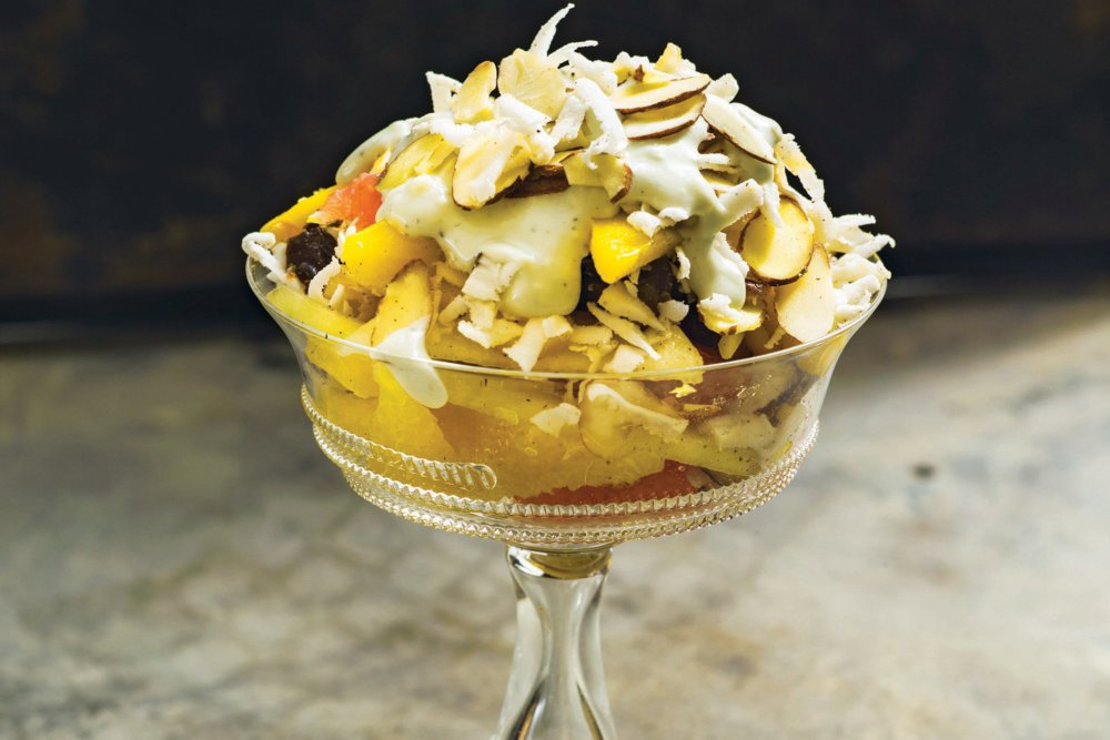 Cardamom Ambrosia Salad with Blue Cheese Dressing