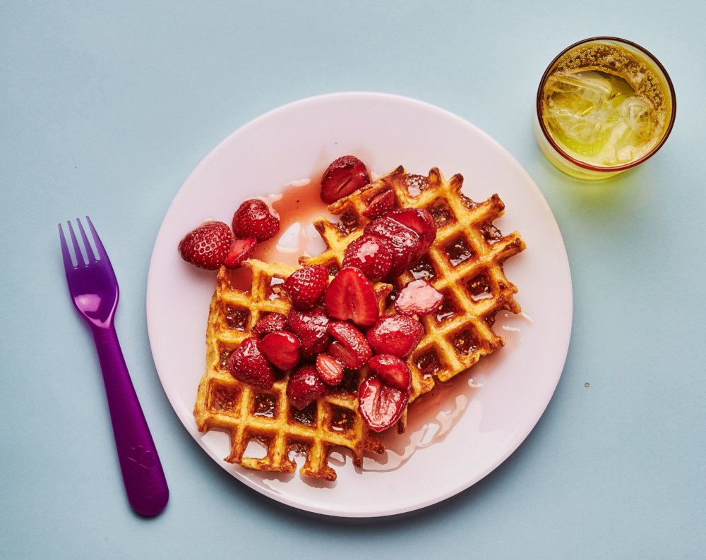 Corn Waffles with Strawberry Syrup