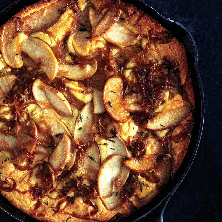 Cornbread with Caramelized Apples and Onions