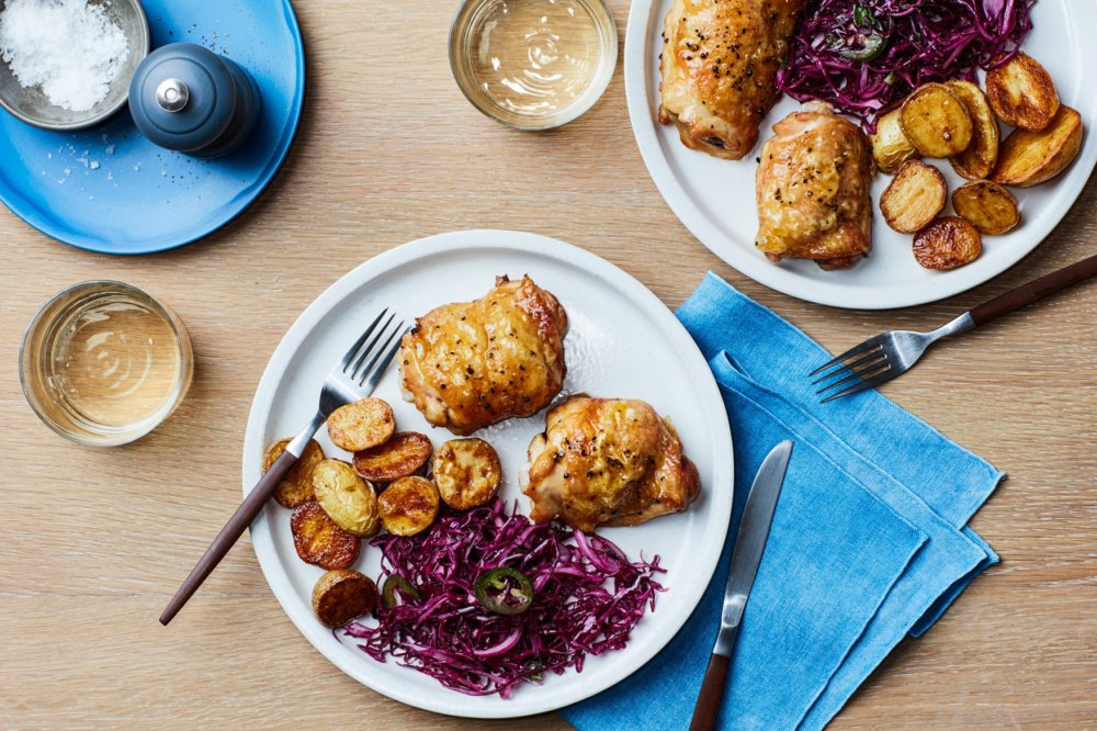 Crispy Chicken and Potatoes with Cabbage Slaw