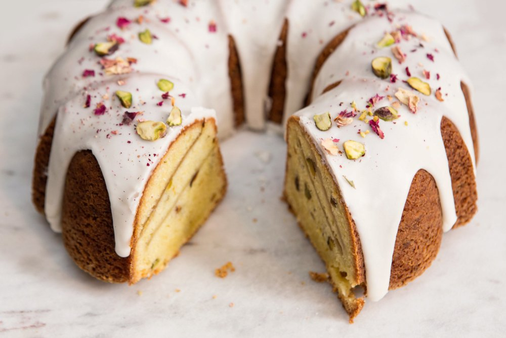 Rhubarb-Pistachio Bundt Cake With Rose Glaze