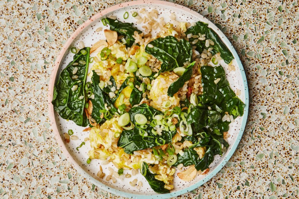 Fried Brown Rice with Kale and Turmeric