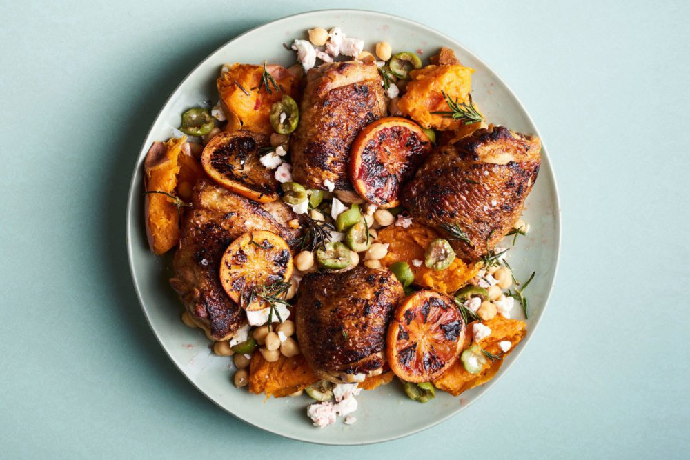 Charred Chicken with Sweet Potatoes and Oranges