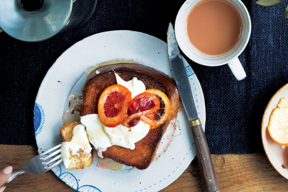 Maple-Cinnamon Toast With Citrus and Crème Fraîche