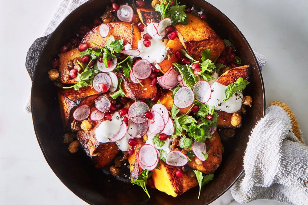 One-Skillet Roasted Butternut Squash with Spiced Chickpeas