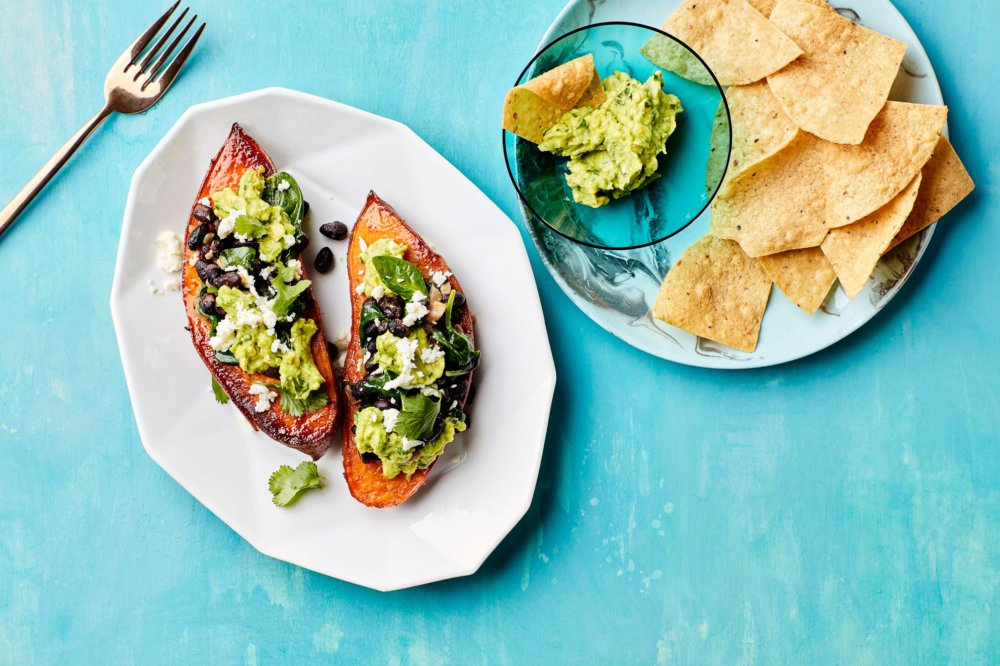 Stuffed Sweet Potatoes with Beans and Guacamole
