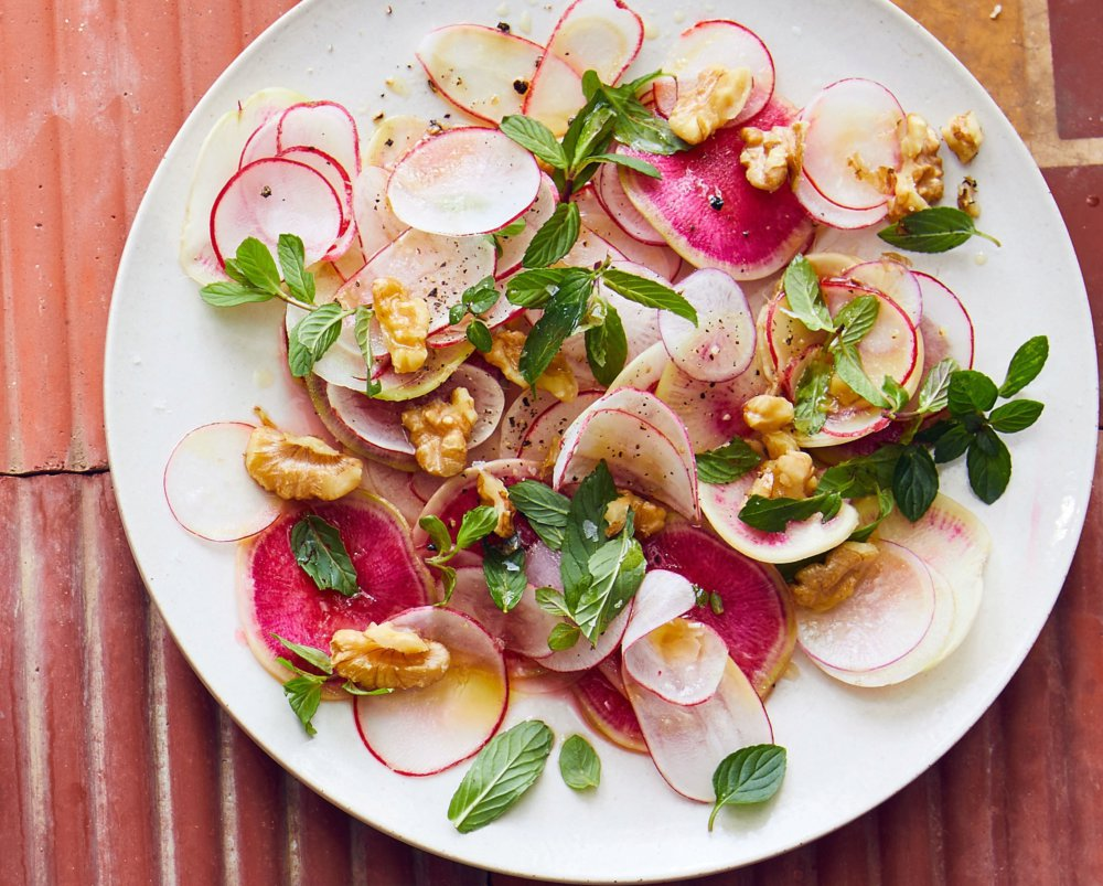 Shaved Radish Salad With Walnuts And Mint