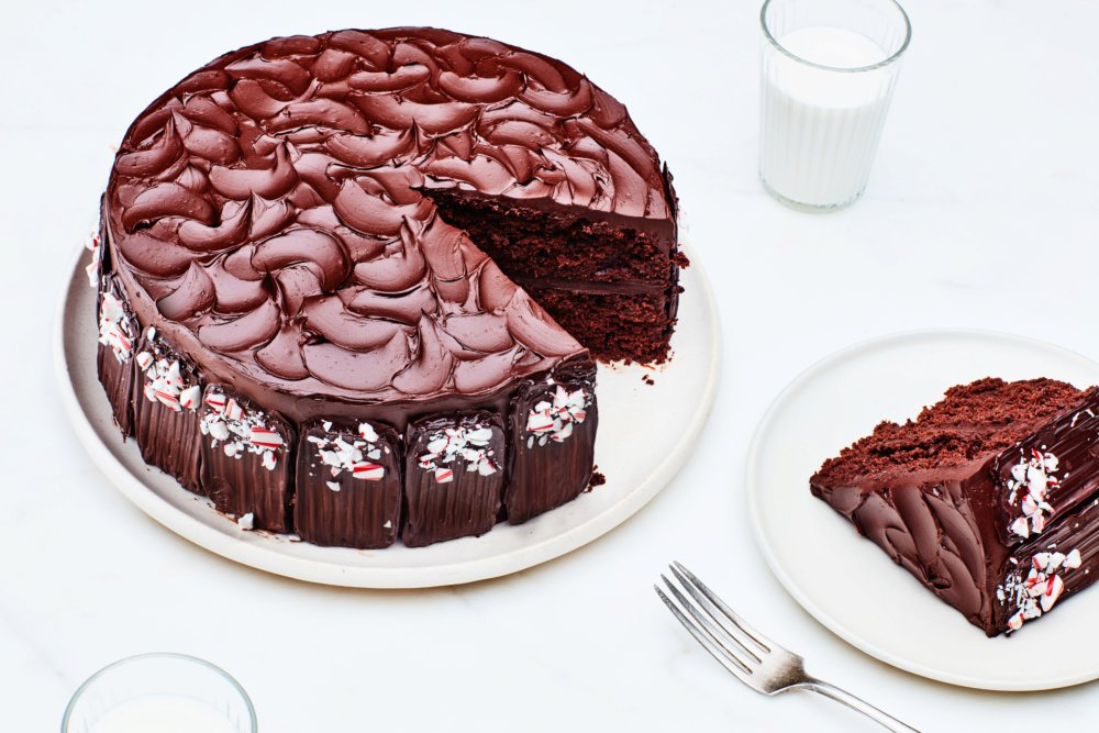 Double Chocolate Cake with Peppermint-Chocolate Frosting