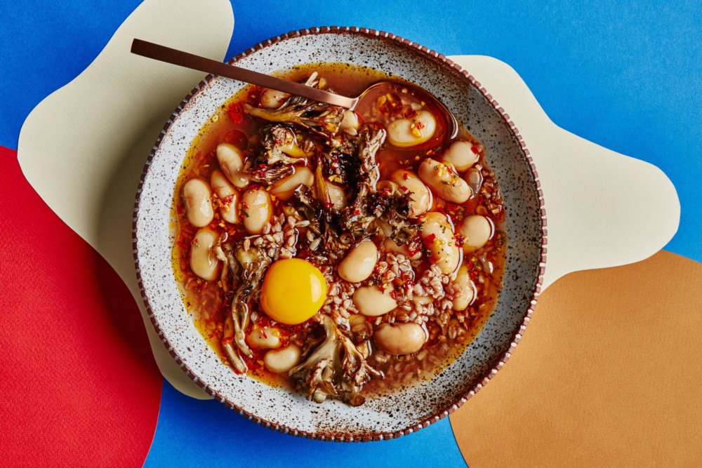 Brothy Beans and Farro with Eggs and Mushrooms
