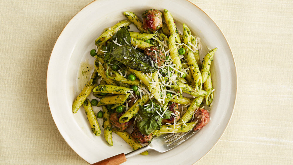 Penne with Spinach Pesto and Turkey Sausage