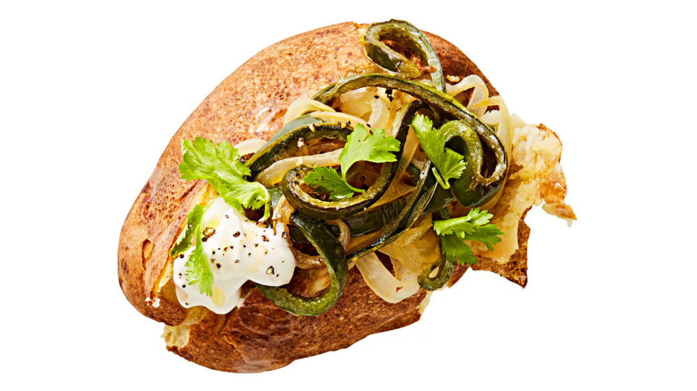 Baked Potato with Poblanos and Sour Cream