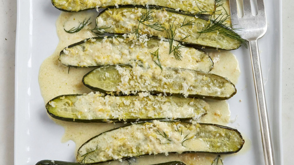 Roasted Cucumbers with Cream and Horseradish
