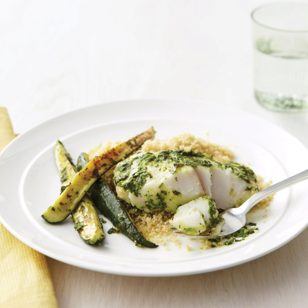Fish Fillets with Herbs, Zucchini, and Whole-Wheat Couscous